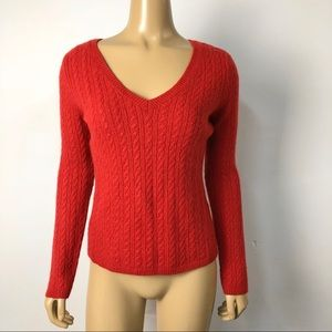 Talbots women's red v neck cashmere wool blend